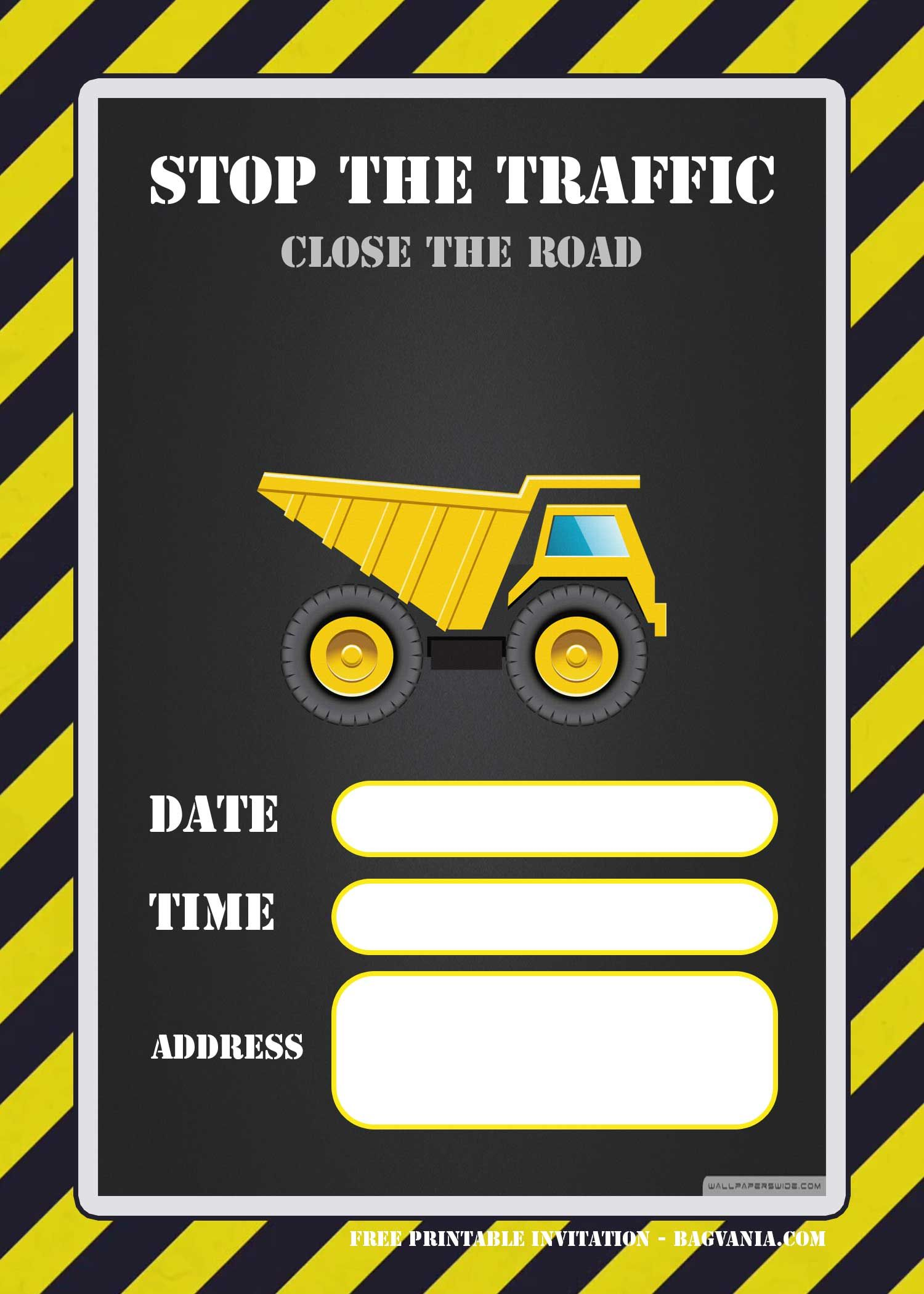 Free Printable Construction Invitation Templates