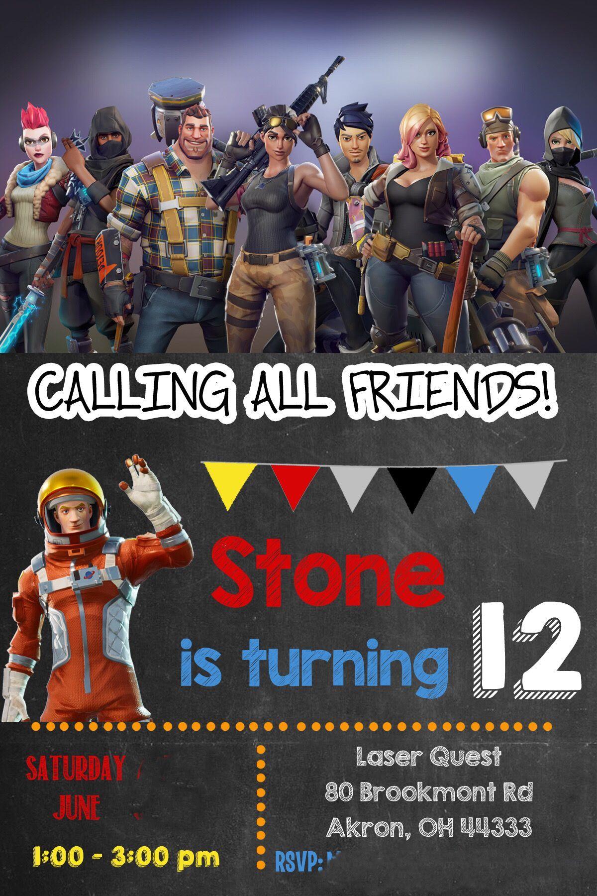 Fortnite Birthday Invite Idea Printable Birthday Invitations Bday Party Diy Happy 11th Birthday