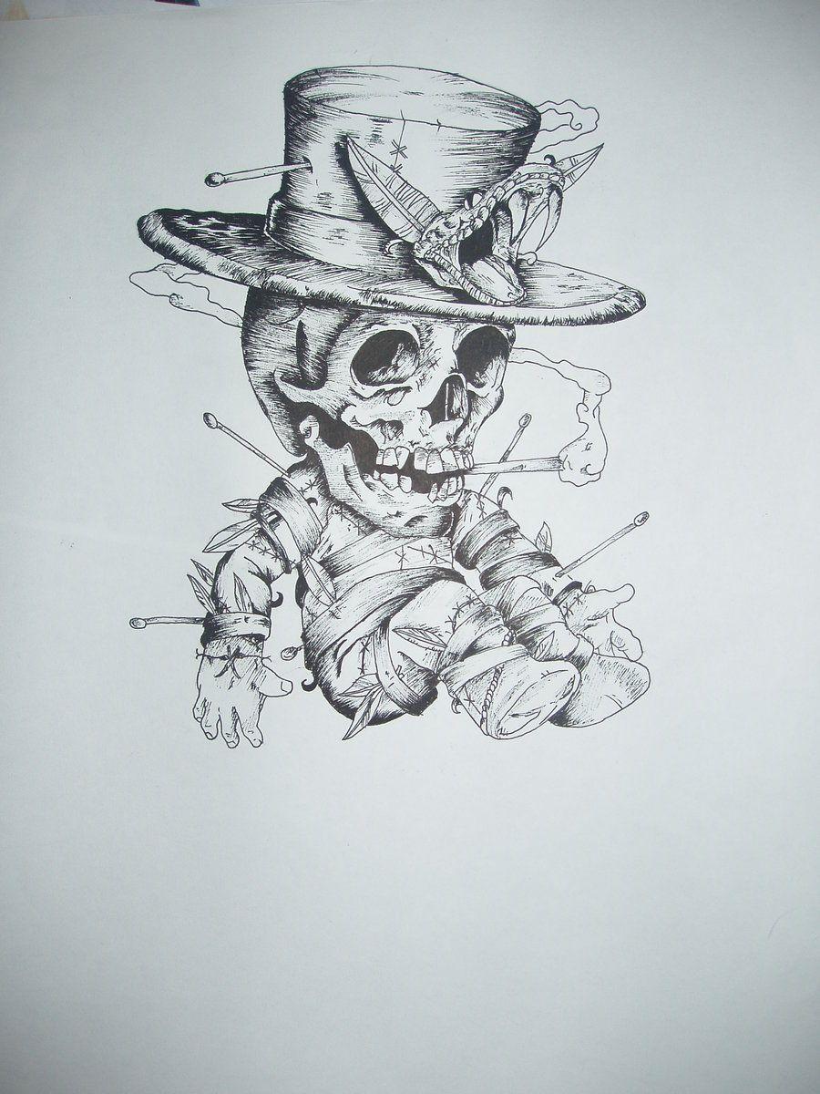 voodoo doll skull for art by skippyju tats and flash
