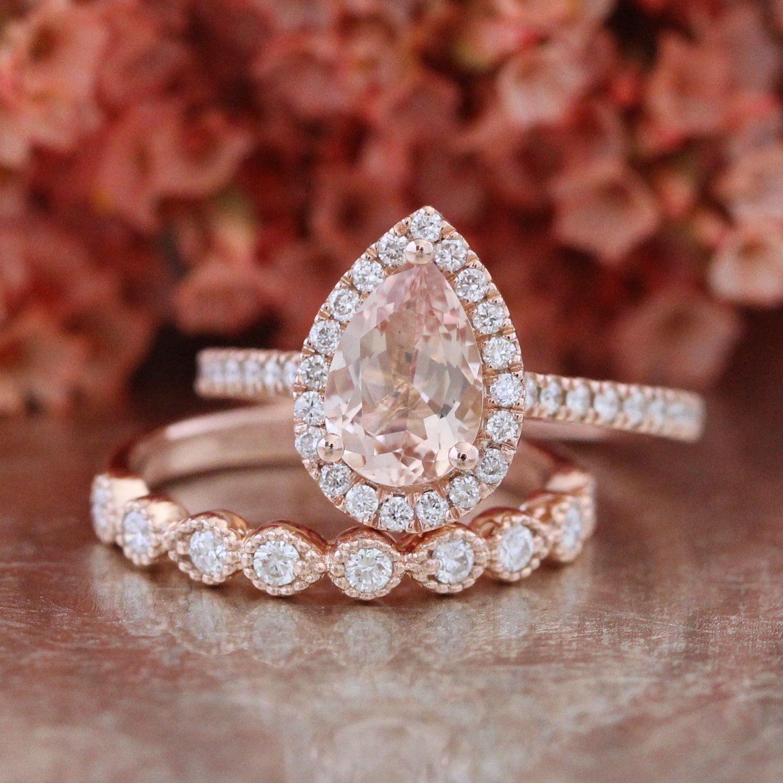 e56a606f54d35 Pear Morganite Engagement Ring and Milgrain Diamond Wedding Band ...