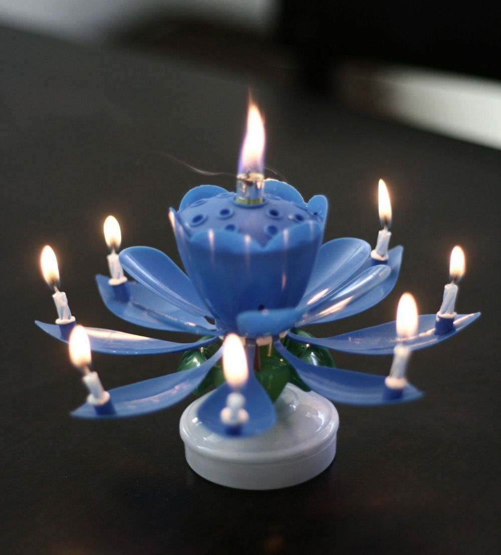 Find More Candles Information About Amazing Flower Happy Birthday Magical Blossom Lotus Musical Rotating Candle GiftHigh Quality Wedding GiftChina