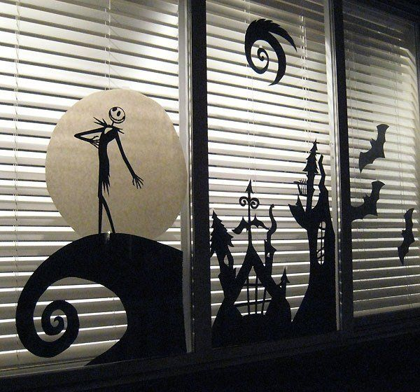 Halloween silhouette windows DIY halloween decorations nightmare before christmas window decor
