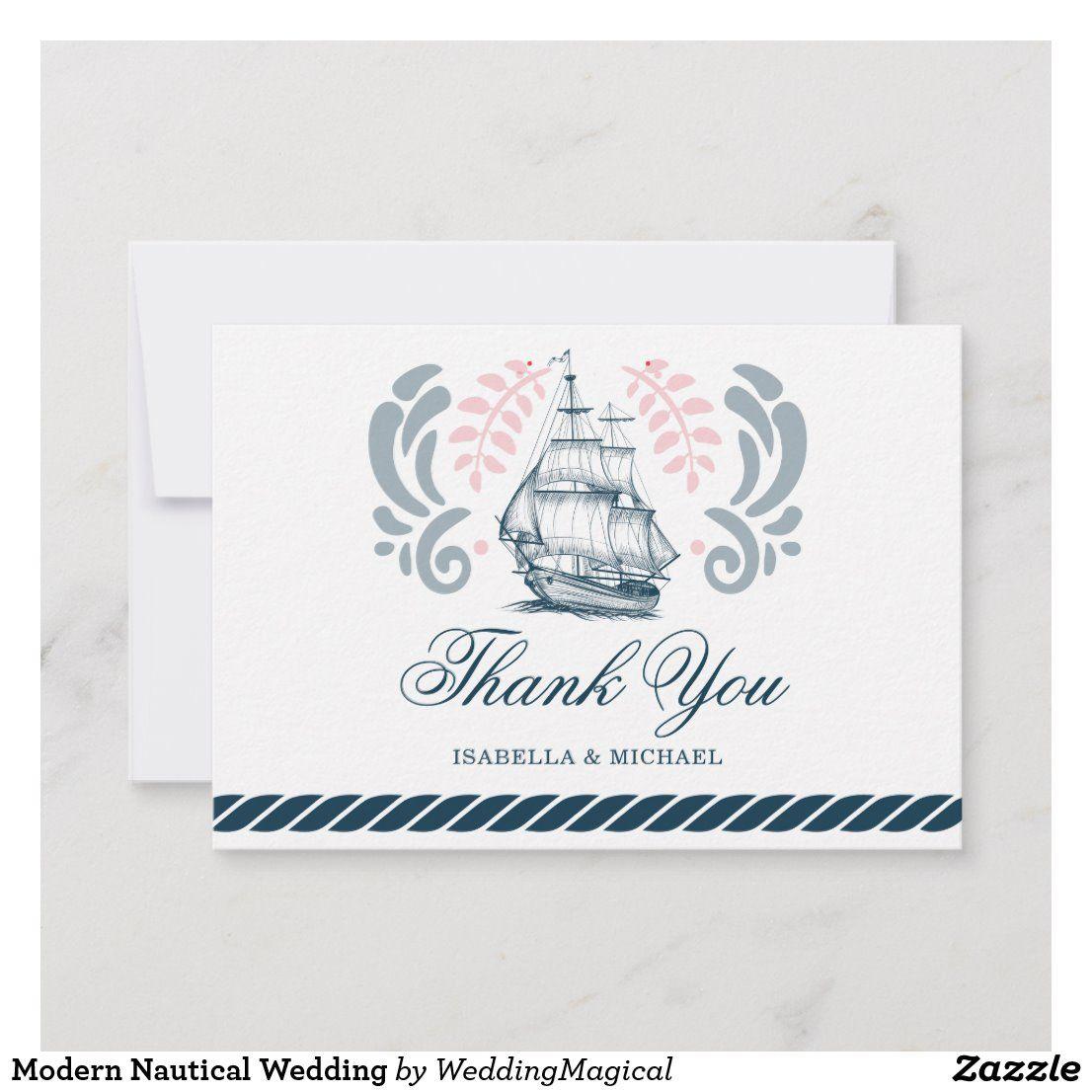 modern nautical wedding thank you card  zazzle