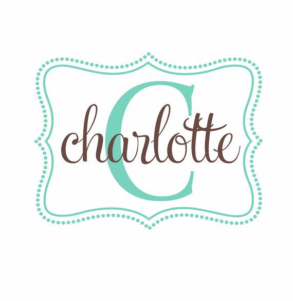 Name And Initial Vinyl Wall Decal Whimsical Border Personalized - Cute custom vinyl stickers   for business
