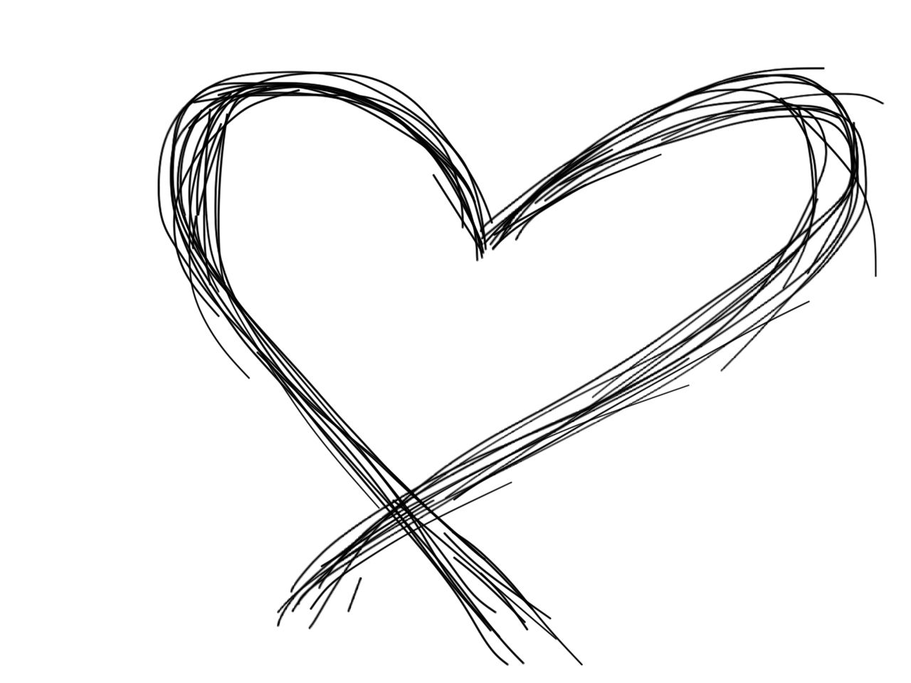 heart love black and white scribble