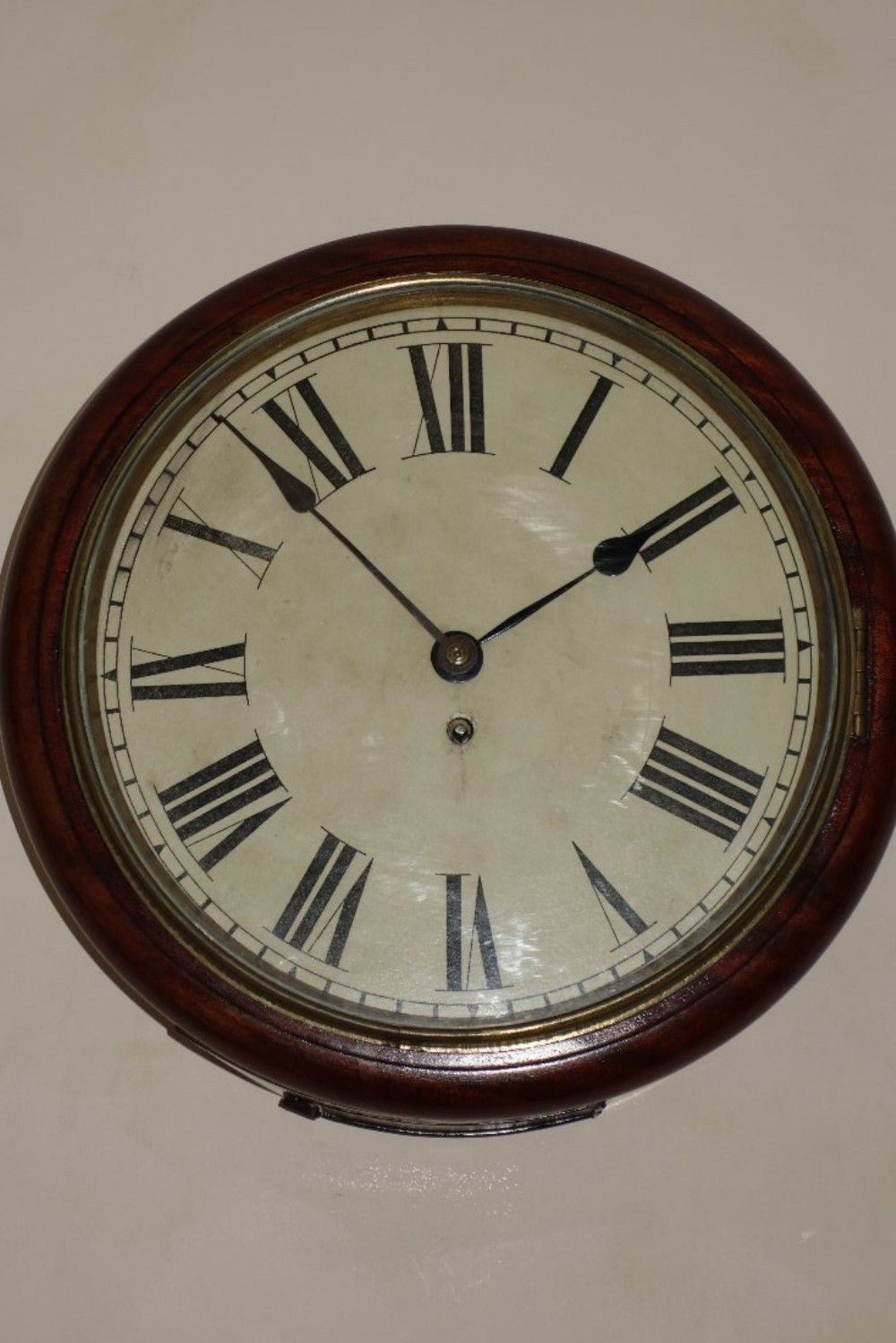 11 Inch Chapter Ring Late 19th Century Mahogany Cased Fusee Office School Station Wall Clock Clock Wall Clock Wall