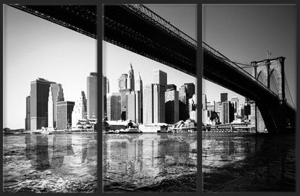 toile photo tryptique de rectangle le pont de brooklyn avec les gratte ciels de new york en. Black Bedroom Furniture Sets. Home Design Ideas