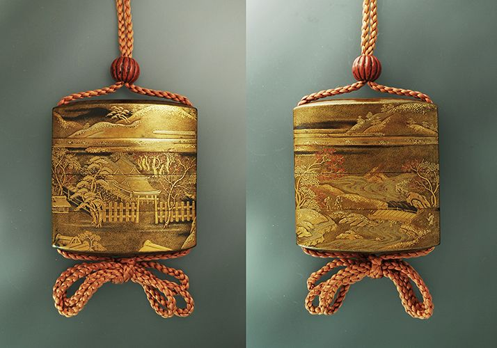 S11.jpg (714×500) A three case lacquer inro depicting an autumn landscape of exceptional nuance in three color gold with techniques of hiramakie, takamakie, togidashi, nashiji & kirigane. 印籠  近野作