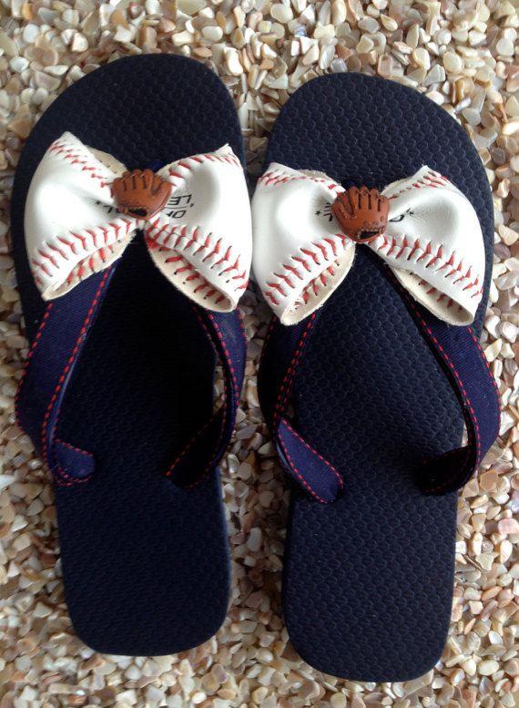 8cdcc456d94 Baseball Flip Flops by Moonduskbeach on Etsy