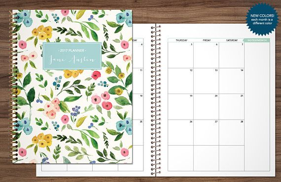 2017 monthly planner custom planner month at a glance planner 2017