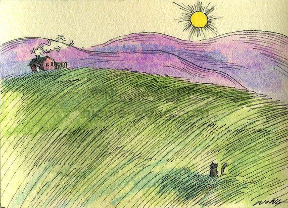 Original ACEO Painting  Mountainous landscape by PainterNik