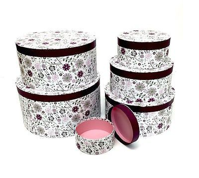 Round Decorative Boxes Inspiration Decorative #round #purple Floral Home #office Storage Boxes Hat Decorating Design