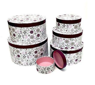 Decorative Round Boxes Decorative #round #purple Floral Home #office Storage Boxes Hat