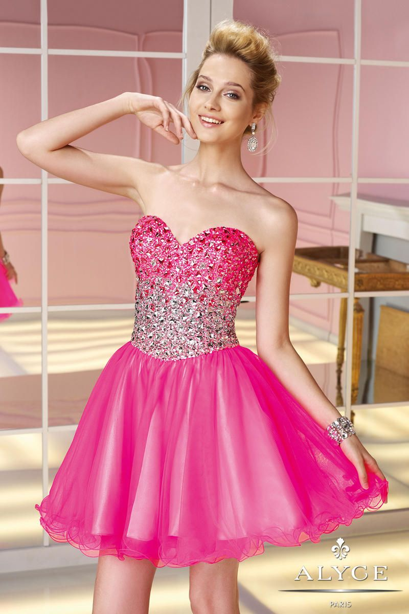 Short Prom Cocktail Dress Beading A-line Sweetheart Fuchsia ...