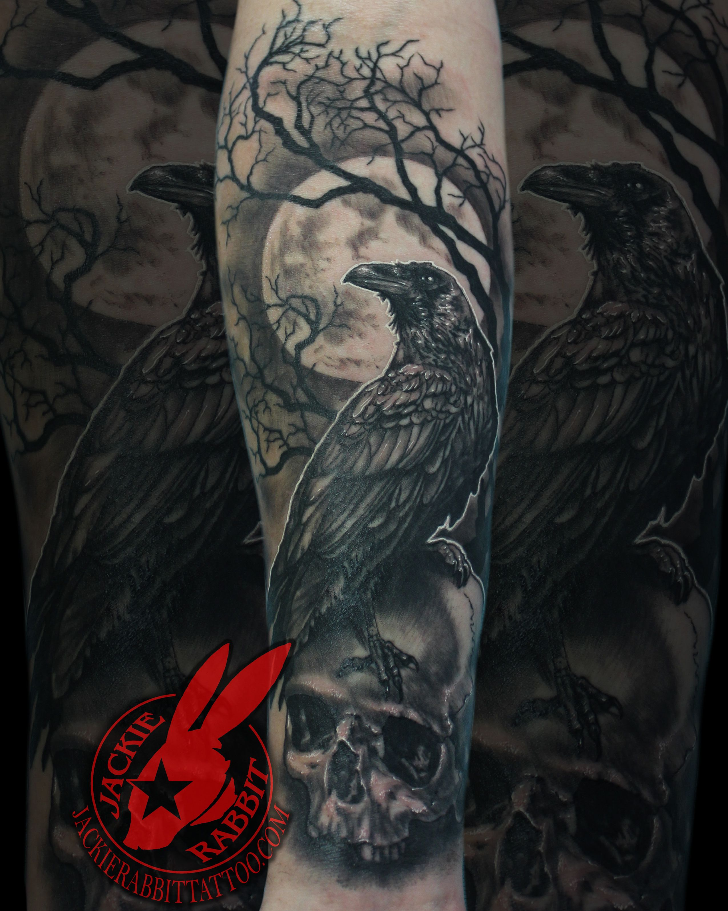 Raven Crow Perched Sitting Skull Full Moon Tree Branch Creepy Best Spooky Realistic 3d Black And Grey Port Black Crow Tattoos Crow Tattoo Design Spooky Tattoos