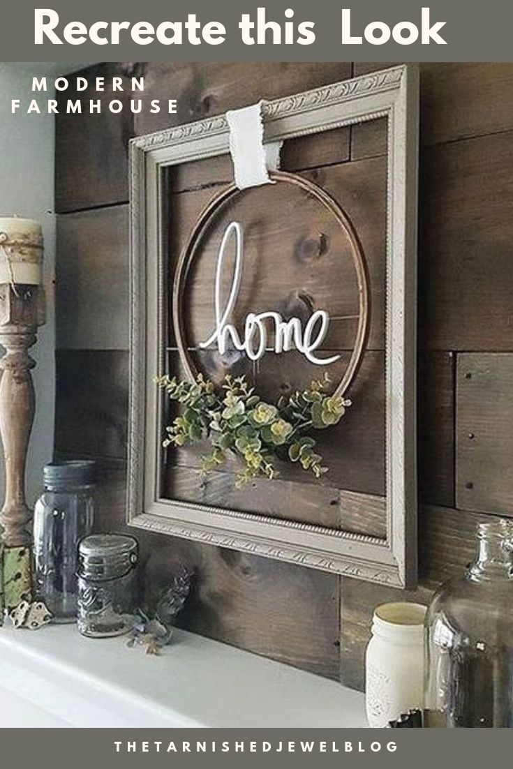 Recreate this Look: Modern Farmhouse Framed Embroidery Hoop - thetarnishedjewelblog #modernfarmhousebedroom