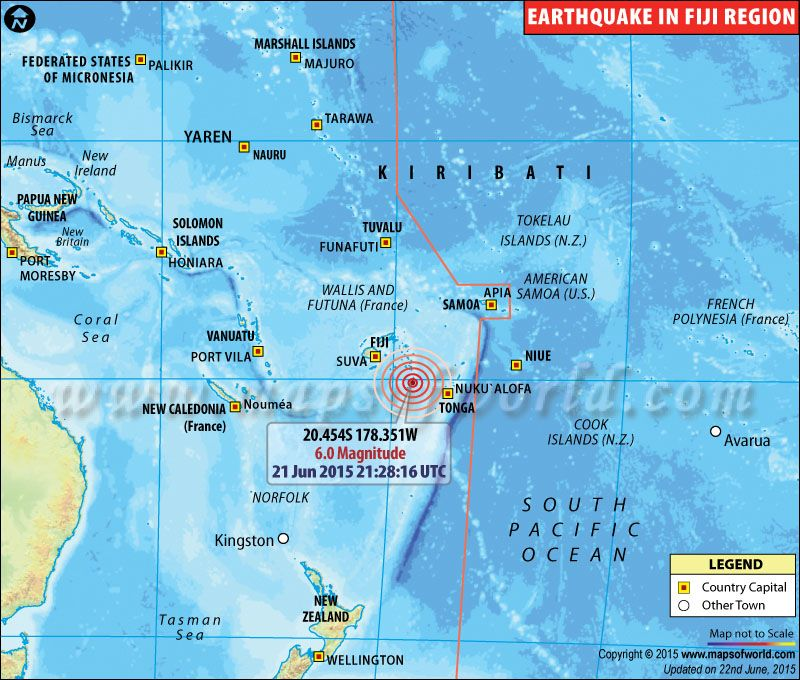 Magnitude 60 earthquake hits fiji on june 21 2015 heres a map earthquakes in fiji areas affected by earthquakes in fiji gumiabroncs Gallery