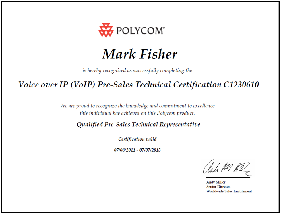 Polycom Voice Over Ip Voip PreSales Technical Certification