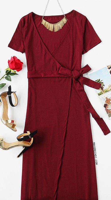 97e10ee880 Burgundy Deep V Neck Surplice Wrap Dress