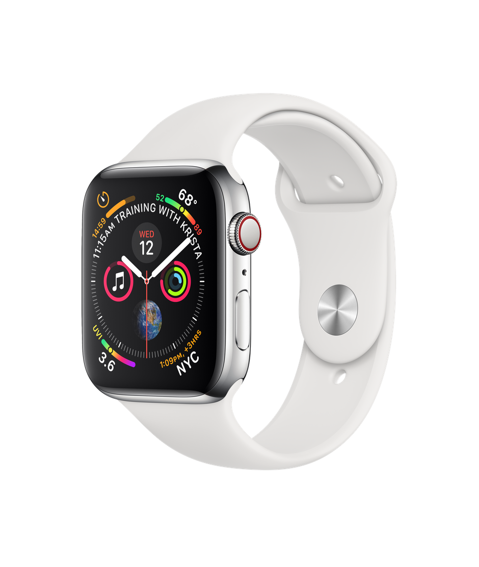 Apple Watch Stainless Steel Case with White Sport Band