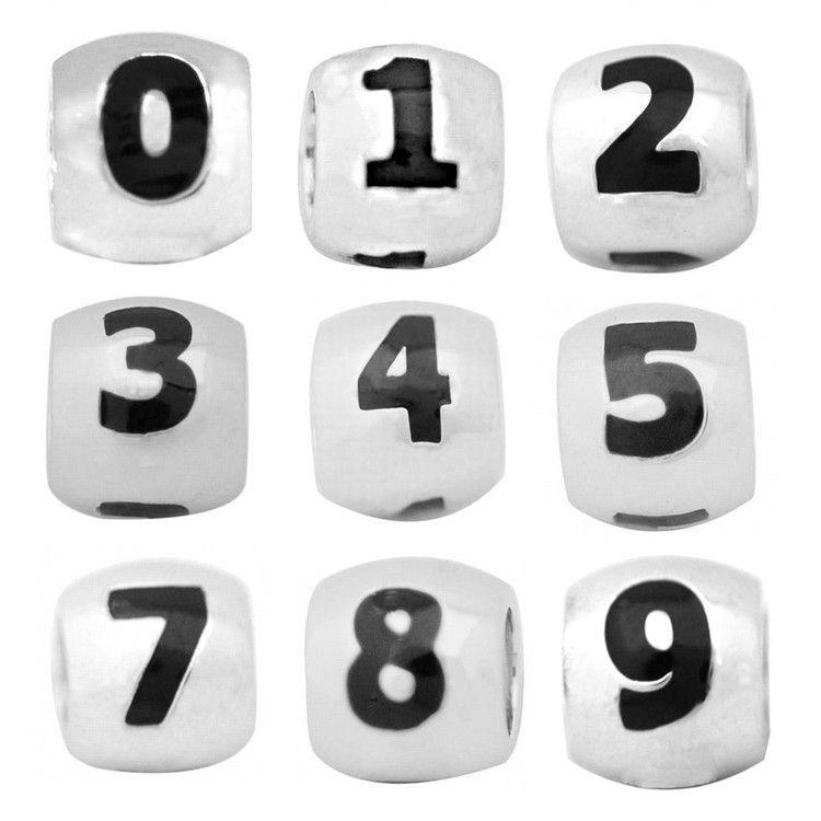 De Buman Sterling Silver Enamel Lucky Number Bead (Sterling Silver Enamel Lucky Number 1 Charm), Women's