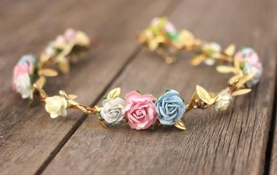 Baby Shower Flower Crown Headband, Rose Gold Floral Crown