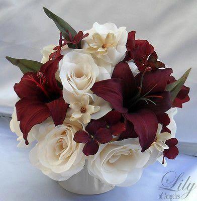 Photo of 4 Centerpieces Wedding Table Decoration Center Flowers Vase Silk IVORY BURGUNDY    eBay
