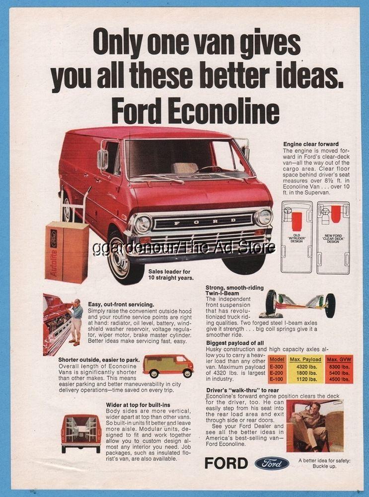 1970 Ford Econoline Van Vintage Photo Print Ad Van Vintage Photo Prints Ford