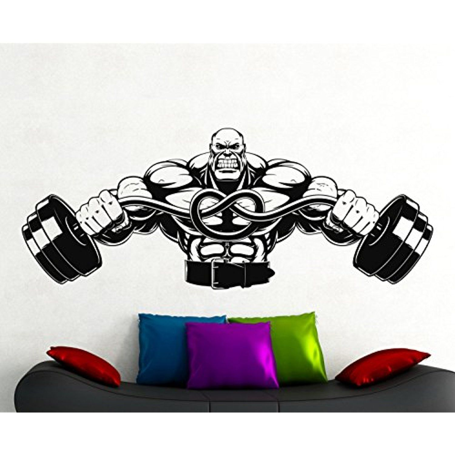 Fitness wall decal vinyl stickers sport gym words interior home art