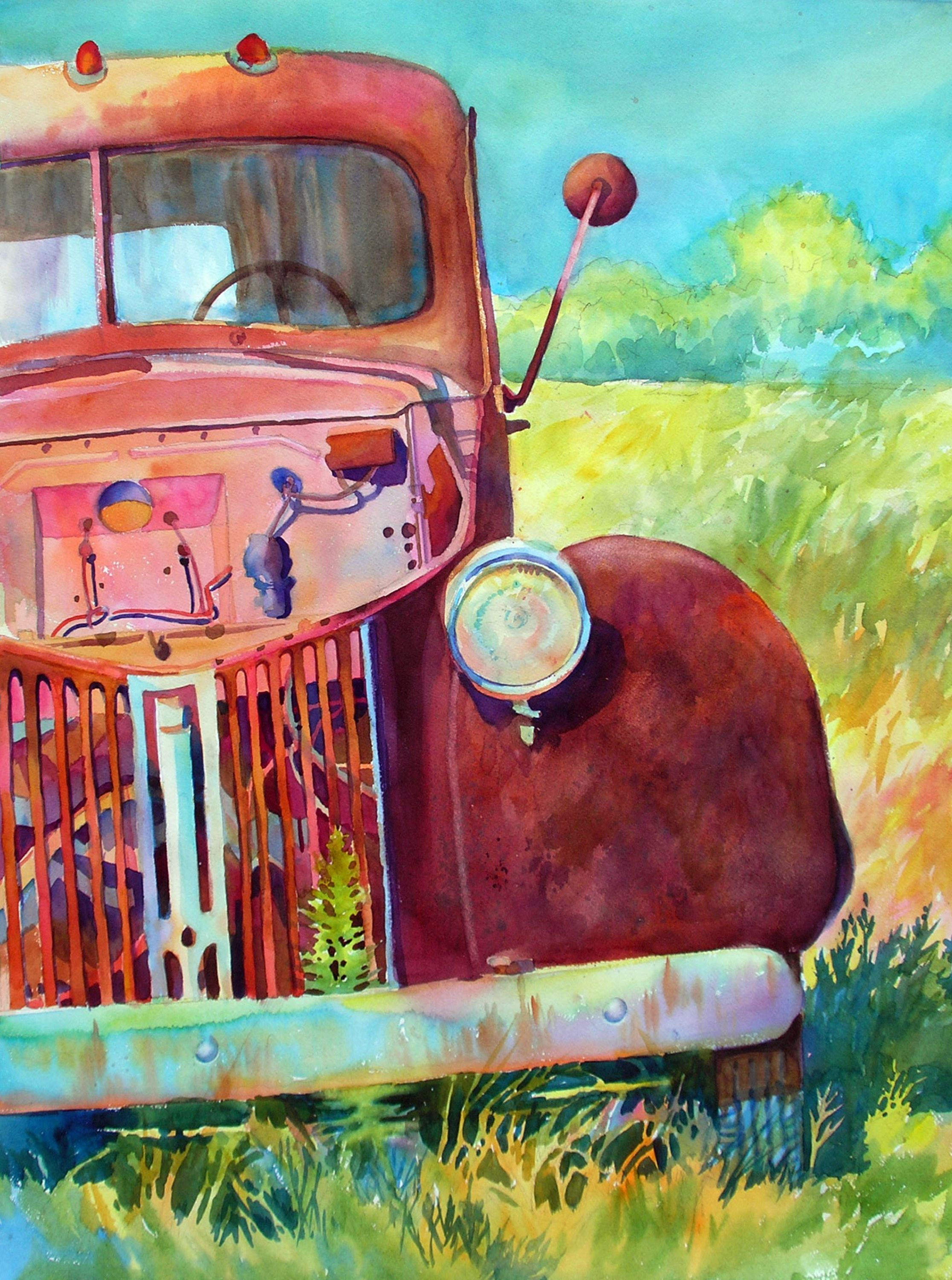 x watercolor painting of an old abandoned truck with its