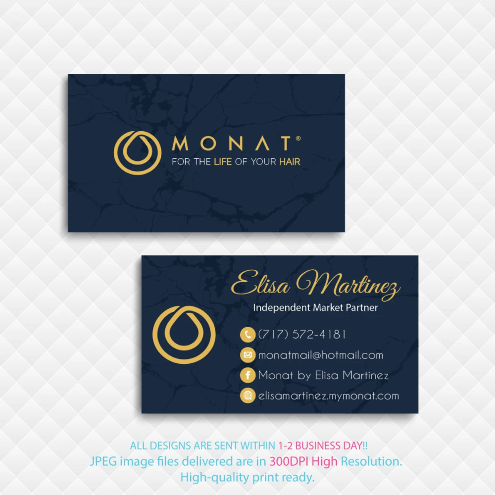 Personalized Monat Business Cards Monat Hair Care Cards Mn39 Custom Business Cards Business Card Size Monat