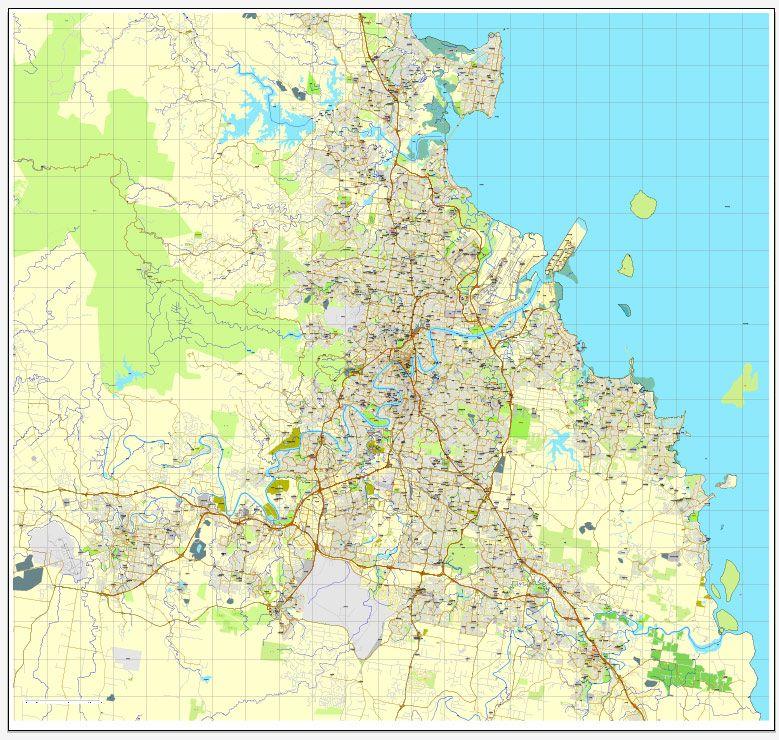 Detailed Map Of Australia Pdf.Brisbane Pdf Map Australia Printable Vector City Plan V3 08 Editable