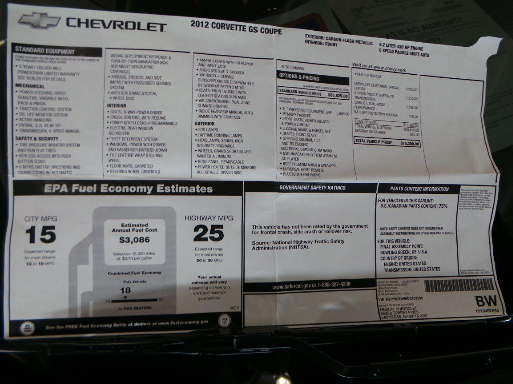 Original Window Sticker 2012 Corvette Corvette Grand Sport Fuel Economy