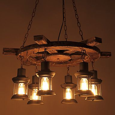 520 65 6 Light 73 Cm Mini Style Pendant Light Wood Bamboo Glass