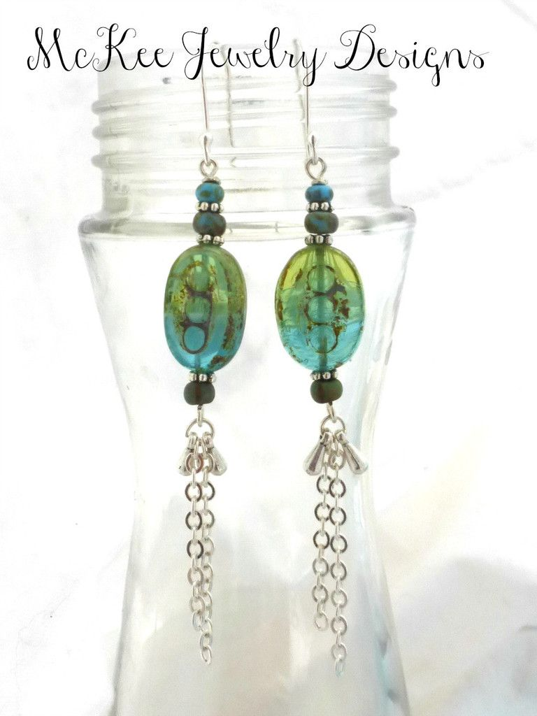 Silver metal and Czech Picasso glass earrings.