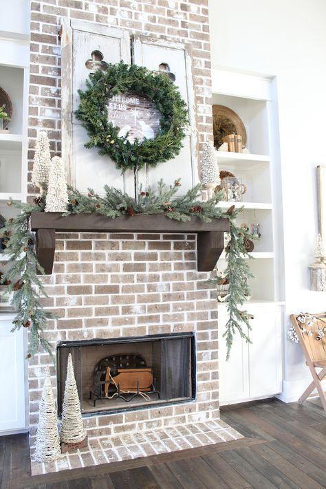 Farmhouse Brick Fireplace Christmas Decorating Ideas #farmhouse