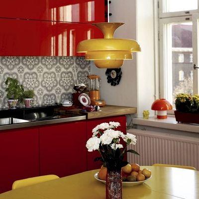 Cocinas rojas para cocinar con pasión #cocina #roja casa de