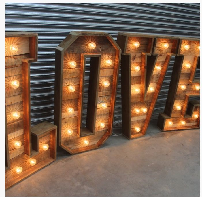 Rustic Love Letter Hire Light Up Love Letter Hire Rustic Wedding