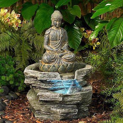 New Indoor Outdoor Buddha Water Fountain Led Lighted Serene Zen