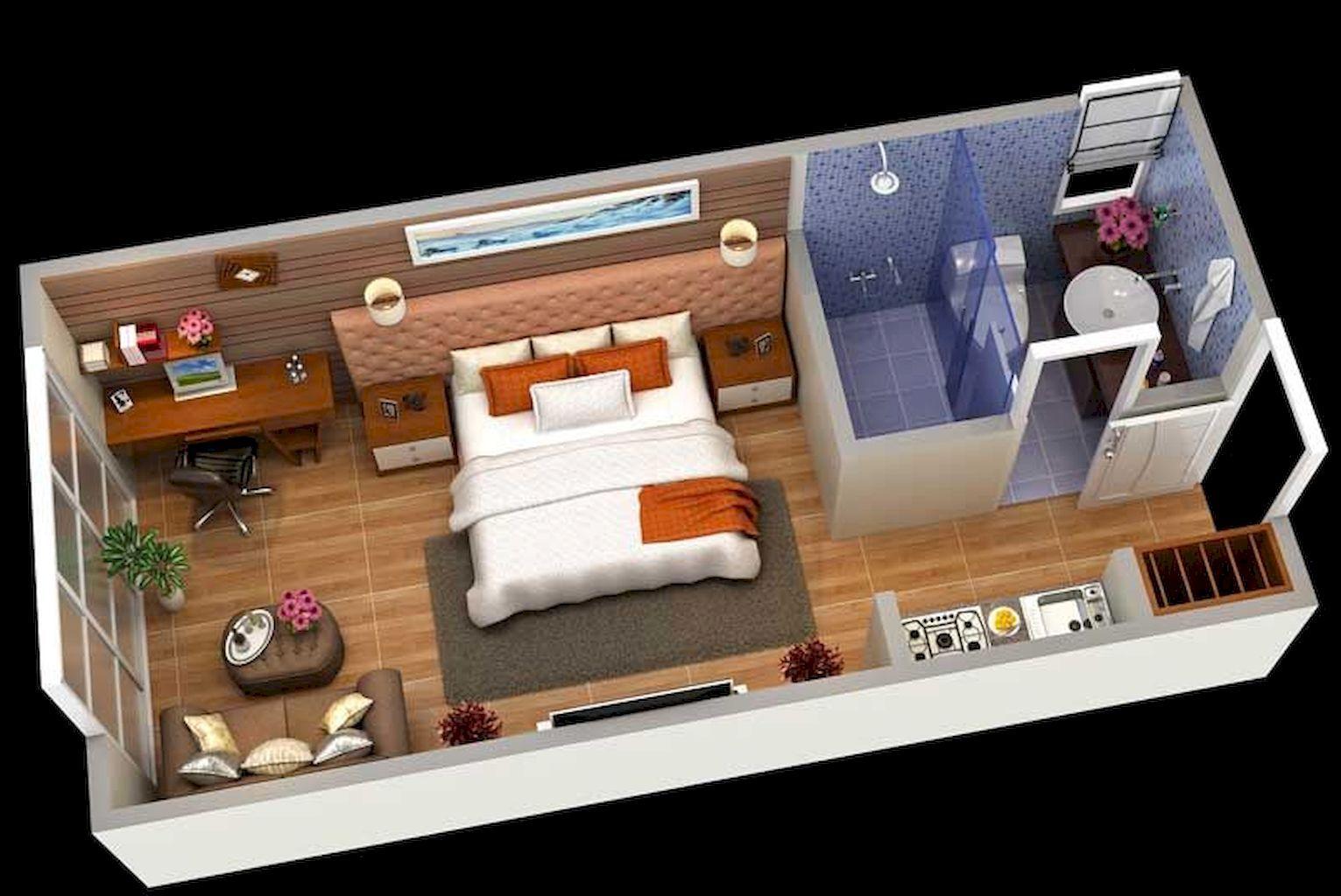 100 Small Studio Apartment Layout Design Ideas Home Design Desain Kamar Hotel Dekorasi Apartemen Studio Desain Ruangan Kecil