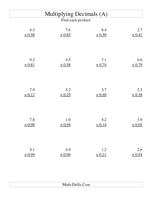 Multiplying Two Digit Tenths By Two Digit Hundredths A Decimals Worksheet Multiplying Decimals Multiplying Decimals Worksheets Decimals Worksheets