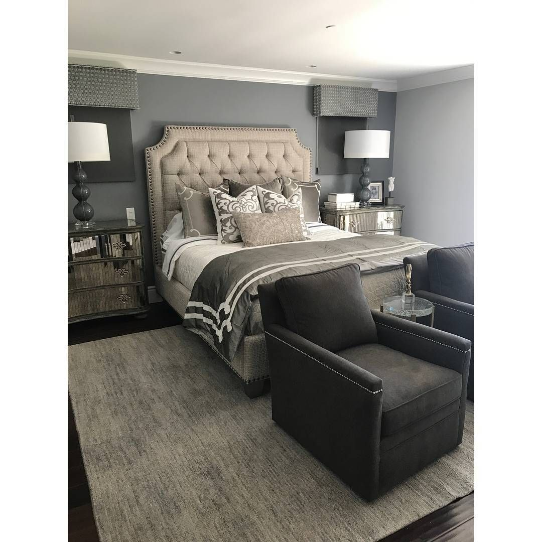 The Master Bedroom Is My Client S Favorite Room A Custom Tufted Headboard Swivel Chairs And Mirrored Chests Really M Tufted Headboard Bedroom Master Bedroom