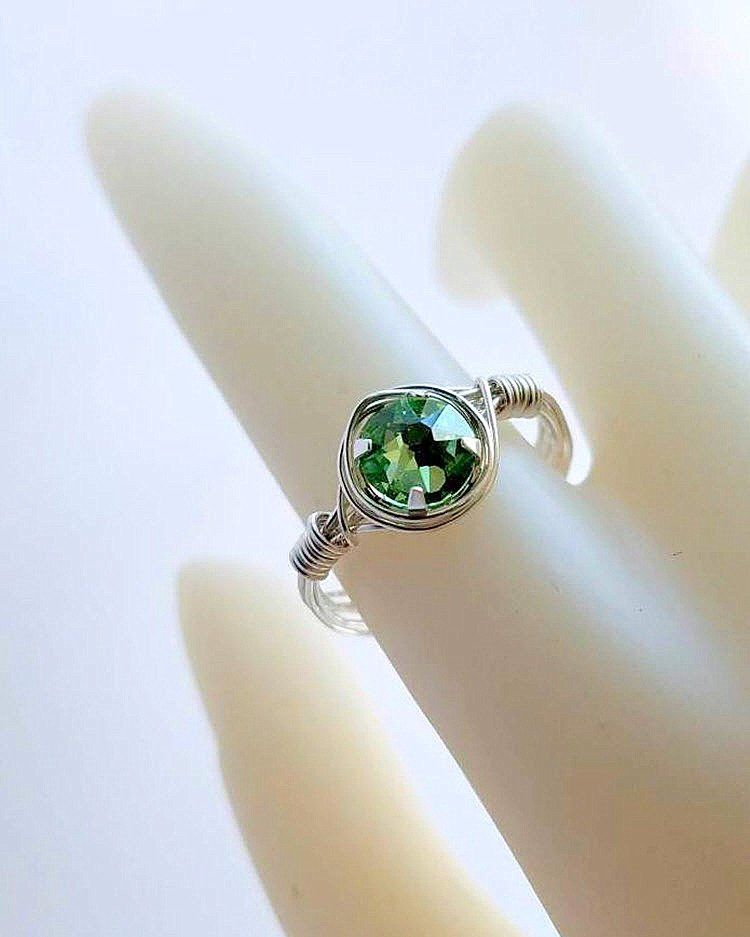648aff58a Green Wire Wrapped Solitaire Ring in Sterling Silver, Peridot Swarovski  Crystal, Size 4 5 6 7 8 9 10 11 12 13 14 15, Includes Ring Box by  JewelsInspire on ...