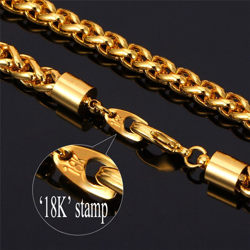 Gold-Chain-Necklace-Men-Summer-Jewelry-18K-Stamp-18K-Yellow-Gold ...
