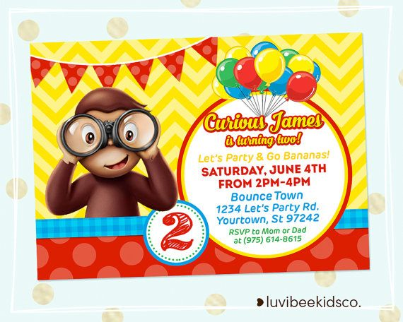 Curious george party invitation balloons by luvibeekidsco curious george birthday bookmarktalkfo Images