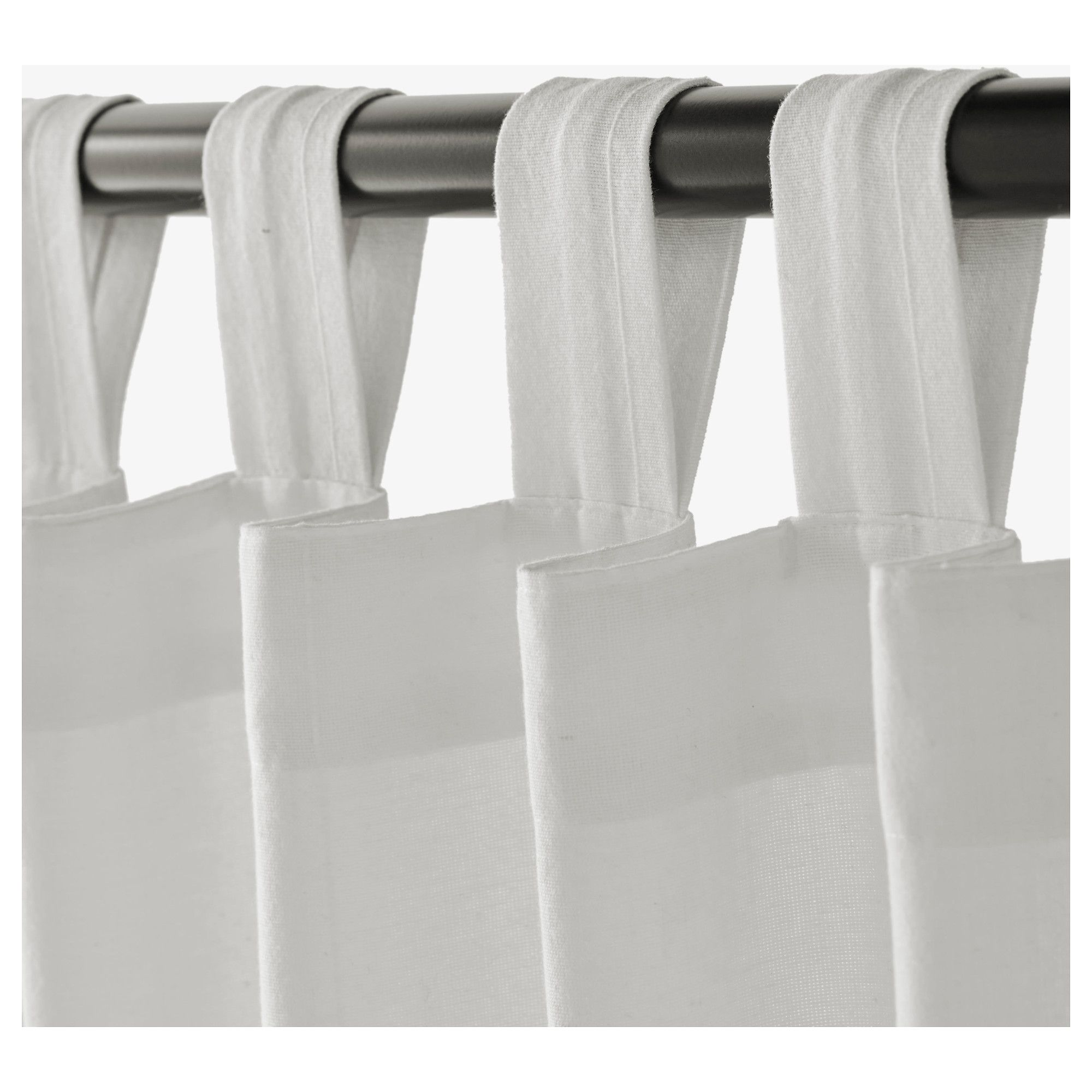 IKEA LENDA Bleached White Curtains With Tie-backs, 1 Pair