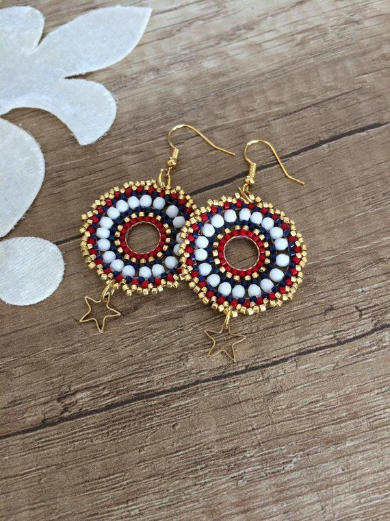 Beaded Hoop Earrings, Festival Jewelry, Disc Earrings, Star Dangle, Dangling Boho Earrings, Large Beaded Dangle, Birthday Gift, Women Gift