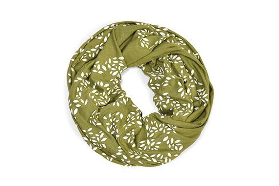 INFINITY SCARF - Screen Printed - Criss-Cross on Army Green