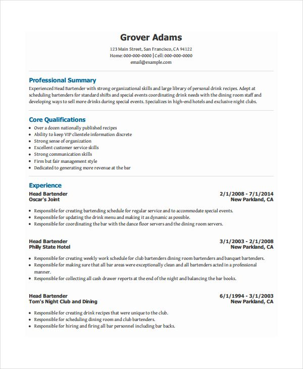 Hopemontessori Info When You Make Your Bartender Resume It I Bartenders 9239e374 Resumesample Resumefor Resume Templates Resume Template Examples Resume