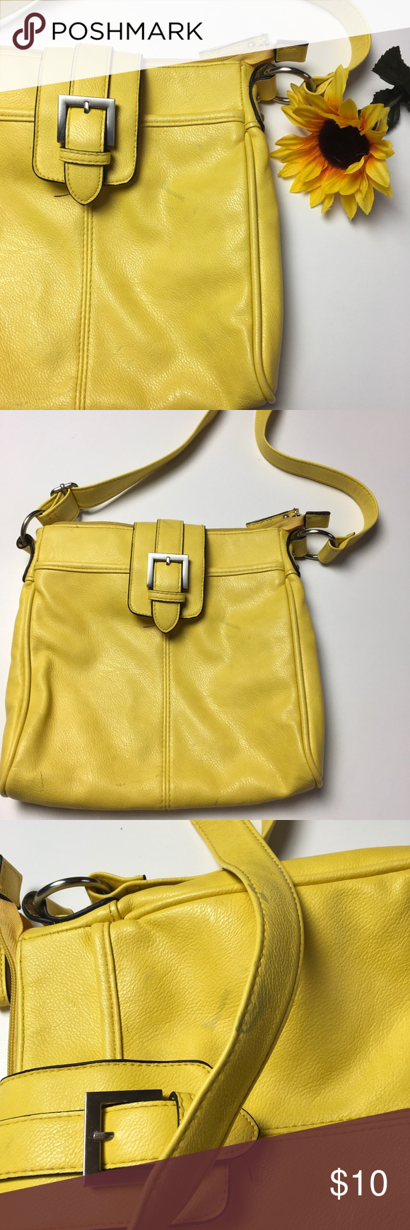 Yellow Messenger Cross Body Bag ⭐️ Super pretty color. Has some blue marks on it. I'm not sure how they got there. Otherwise it's in great condition. Merona Bags